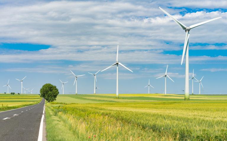 eolian farm renewable energy driving trough